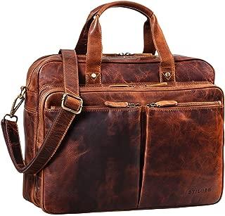 Cognac STILORD Josh Portfolio daffaires A4 Cuir Vintage Porte-Documents Business Porte Bloc Pochette /à Documents Organiseur 13,3 Pouces Couleur:Kara