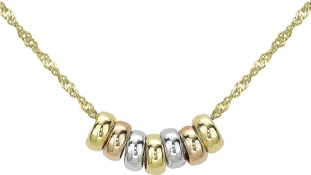 Carissima gold - collana con ciondolo da donna in oro giallo, bianco, rosa 9k (375),0.75 grammi 3.13.2213