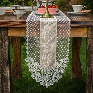 ARTABLE Rectangle Table Runner Lace Macrame Embroidered Table Runners with Exquisite Vintage Shabby Chic for Holiday Wedding Long Dinner Tables (Stone Gray, 12