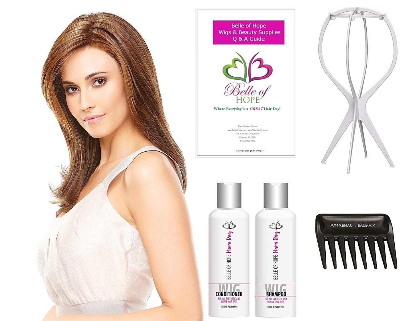 Fiery HD Synthetic Lace Front wig by Jon Renau, Plastic Wig Stand, Wide Tooth Comb, Mara Ray Luxury 4oz Hair Care Kit, 19 Page Belle of Hope Q&A Bookle - Bundle 6pct (1BRH30)