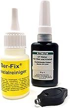 Ber-Fix® 10 g UV-lijm glaslijm dik vloeibaar 500-1000 - 1 UV zaklamp met speciale reiniger