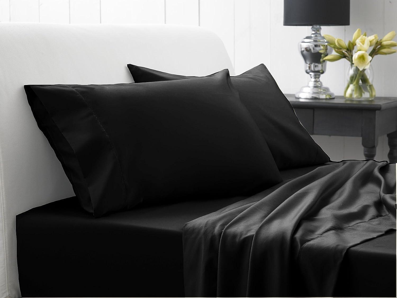 Super Soft- 600 fils au pouce en coton égypcravaten pour lit Extra profond 18 cm Double Poche UK Noir solide, 600TC de lit 100%  coton