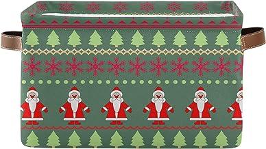 Mnsruu Duży składany kosz do przechowywania z uchwytami, Mikołaj i choinki bożonarodzeniowe tkanina składane pojemniki do ...