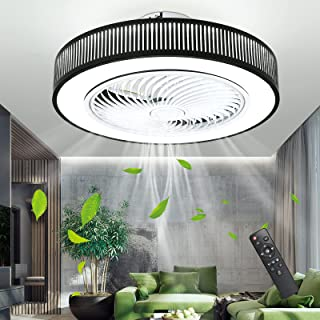 IYUNXI Enclosed Ceiling Fan with Lights Iron 72W Low Profile Ceiling Fan with Remote 20 In Flush Mount Ceiling Fans 3-Colo...