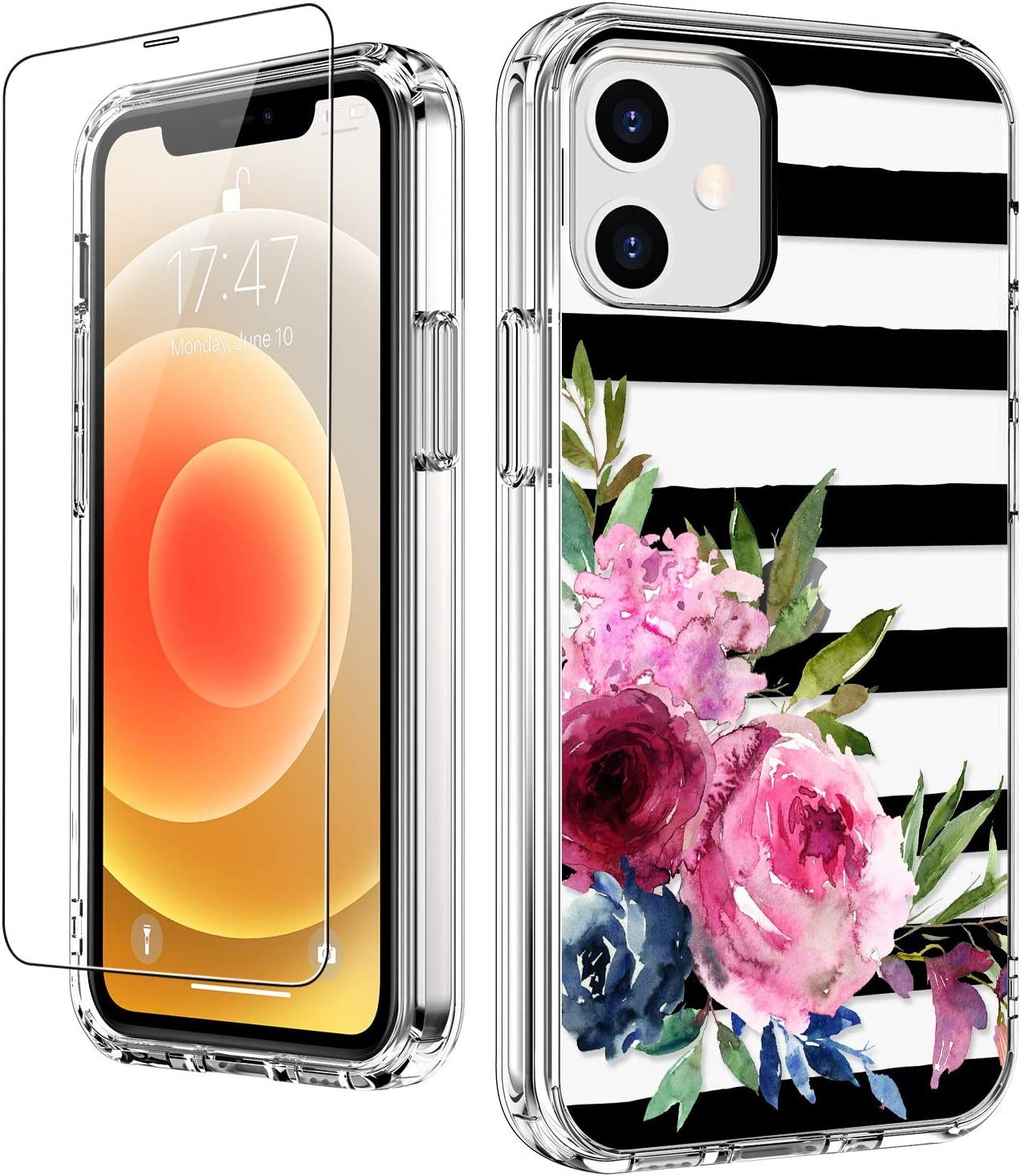 LUHOURI for iPhone 12 Mini Case with Screen Protector,Elegant Floral Flower Designs on Clear Bumper Cover for Women Girls,Shockproof Slim Fit Protective Phone Case for iPhone 12 Mini 5.4