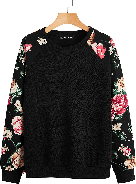 Romwe Women's Plus Size Long Sleeve Round Neck Floral Print Causal Pullover Sweatshirt Black