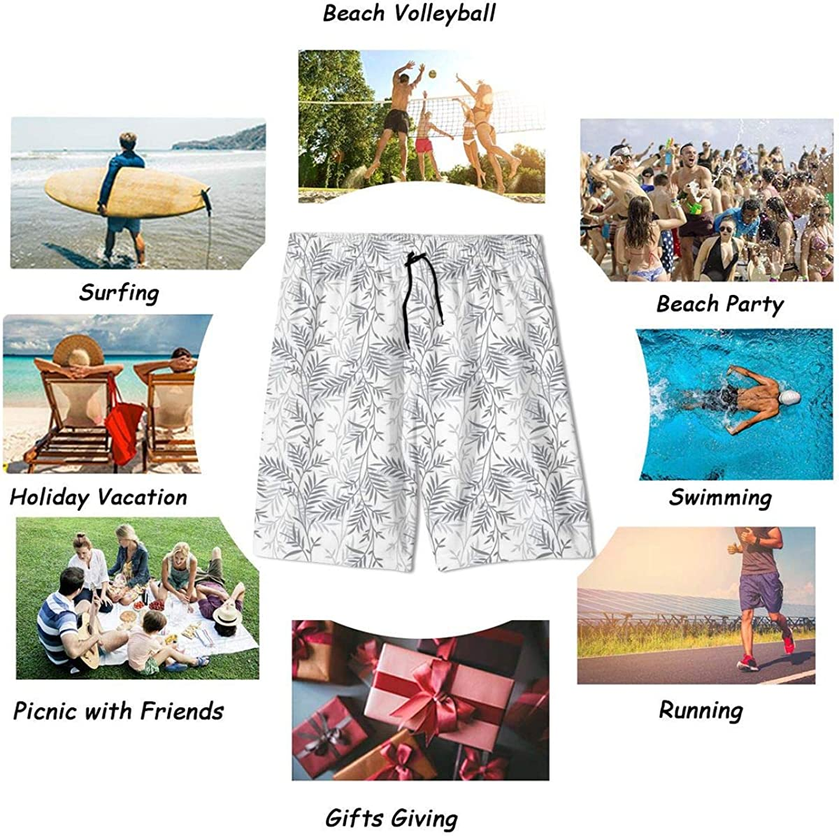 Jeffey Branch Summer Mens Swim Trunks Quick Dry Bathing Suits Holiday Beach Short Casual Board Shorts