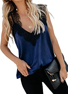 Women's V Neck Lace Trim Camisole Removable Racer Back Crochet Tank Top with Adjustable Straps