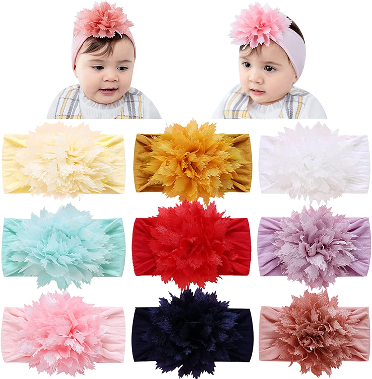 9PCS Baby Headbands for Girls Hair Bows Headband with Flower Nylon Head Wrap for Babies Soft Head Wrap Stretchy Hair Accessories for Newborn Infant Toddlers Kids