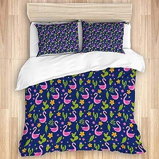 Juego de funda nórdica de 3 piezas, lindo pájaro africano dibujado a mano, flores de flamenco rosa, hojas de palmera y fondo tropical de cactus, colcha con cremallera para dormitorio con 2 fundas de a
