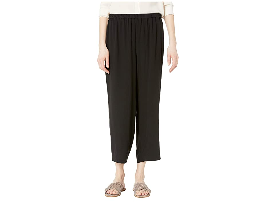 Eileen Fisher Straight Cropped Pants (Black Silk Georgette Crepe) Women