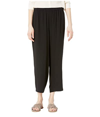 Eileen Fisher Straight Cropped Pants (Black Silk Georgette Crepe) Women