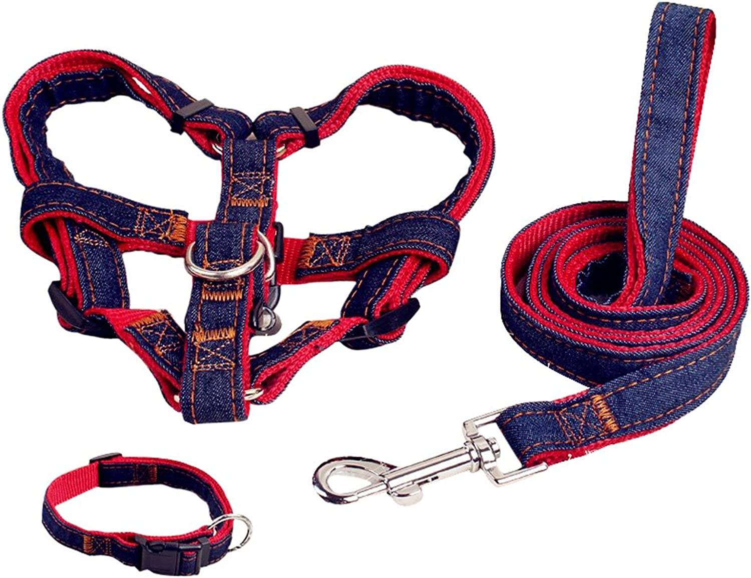 Pet Easy Walk Harness NoPull Dog Leash Basic Halter Harnesses Pet Chest Strap (M, Red)