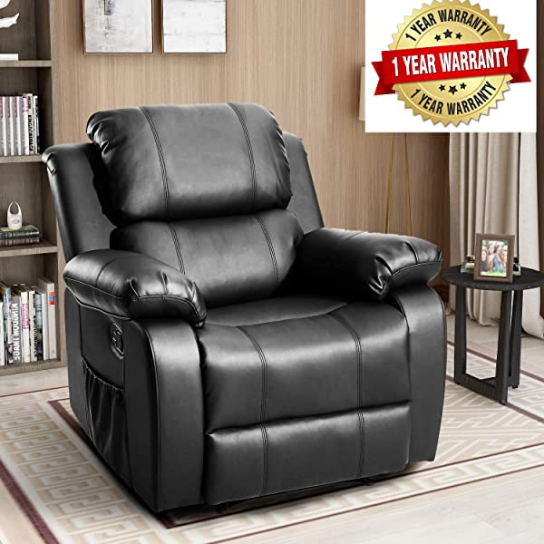 Massage Recliner Chair Heated PU Leather Ergonomic Lounge With 8 Vibrating Sofa Chair