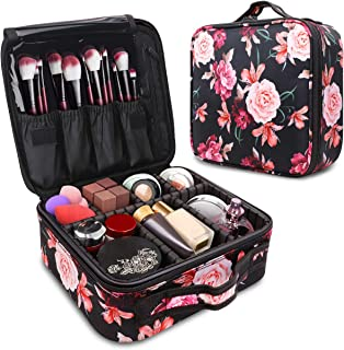 WAVEYU Makeup Case Bag Organizer,Travel Cases Cosmetic Flower Bag for Women Portable Toiletry Train Case with Adjustable Dividers Travel Accessories for Make Up Brushes Toiletry Jewelry, Black