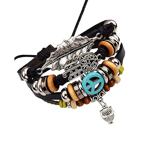 The Jewelbox Handcrafted Stylish 100% Genuine Leather Multistrand Charm Wrist Band Stackable Bracelet Men