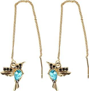 XINSTAR Boucles d'oreilles à tige élégantes en forme de colibri avec strass pour femme