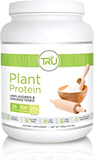 TRU Plant Based Protein Powder, Natural Flavor, Vegan & Keto Friendly, No Artificial Sweeteners, No Dairy, No Soy, 25 Servings (Unflavored & Unsweetened)