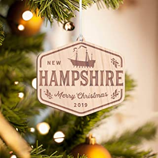 Personalized Christmas Tree Ornament, New Hampshire State Wooden Hanging Ornament | Free Engraving | Perfect Gift for New Hampshire Residents