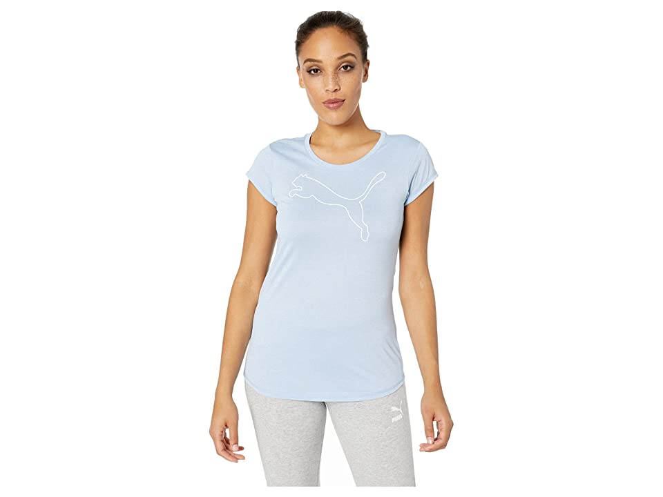 PUMA Active Logo Heather Tee (Cerulean Heather) Women