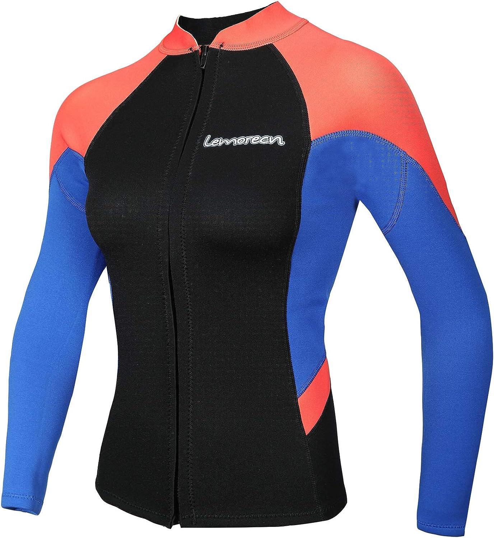 (4, blueee+Red) - Lemorecn Women's 2mm Wetsuits Jacket Long Sleeve Neoprene Wetsuits Top