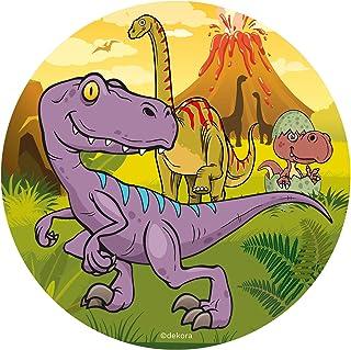 Dekora - Disco Comestible de Dinosaurio para Decoración de Tartas de Cumpleaños - 20 cm