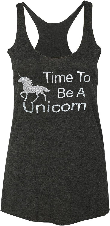 Loaded Lids Women's Unicorn Tank Top, Time to Be a Unicorn Design, Glitter Finish