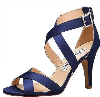 Women High Heel Shoes Open Toe Cross Strap Satin Wedding Dress Sandals