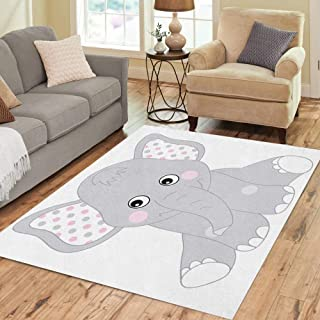 Semtomn Area Rug 5' X 7' Gray African Cute Baby Elephant for Girl Cartoon Pink Home Decor Collection Floor Rugs Carpet for Living Room Bedroom Dining Room