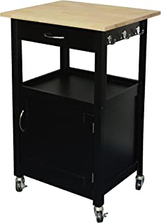 eHemco Kitchen Island Cart Natural Wood Top with White Base (Black)