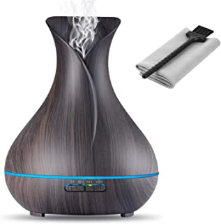 OliveTech Aroma Essential Oil Diffuser, 400ml Ultrasonic Cool Mist Humidifier with Color LED Lights Changing for Home, Yog...