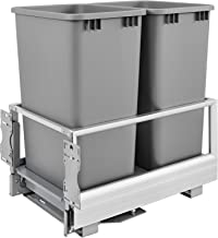 Rev-A-Shelf Double 50 Quart Pullout Waste Container, Silver