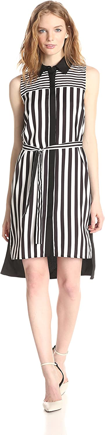 Rebecca Minkoff Women's Cohen Striped Sleeveless Shirtdress