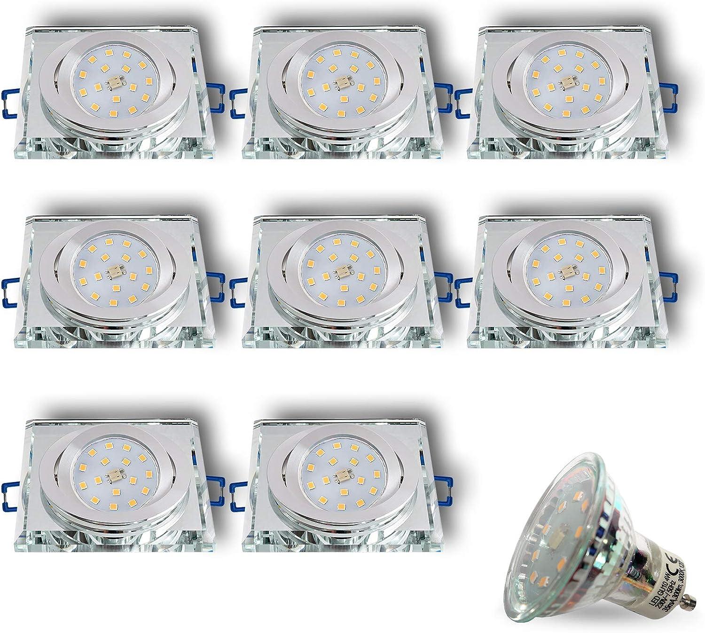 LED Einbaustrahler aus Glas Spiegel Klar CRISTAL-S Eckig Schwenkbar Inkl. 8 x 4W LED Warmweiss 230V IP20 LED Deckenstrahler Deckeneinbaustrahler Einbauspot Deckeneinbauleuchte Deckenspot Clear