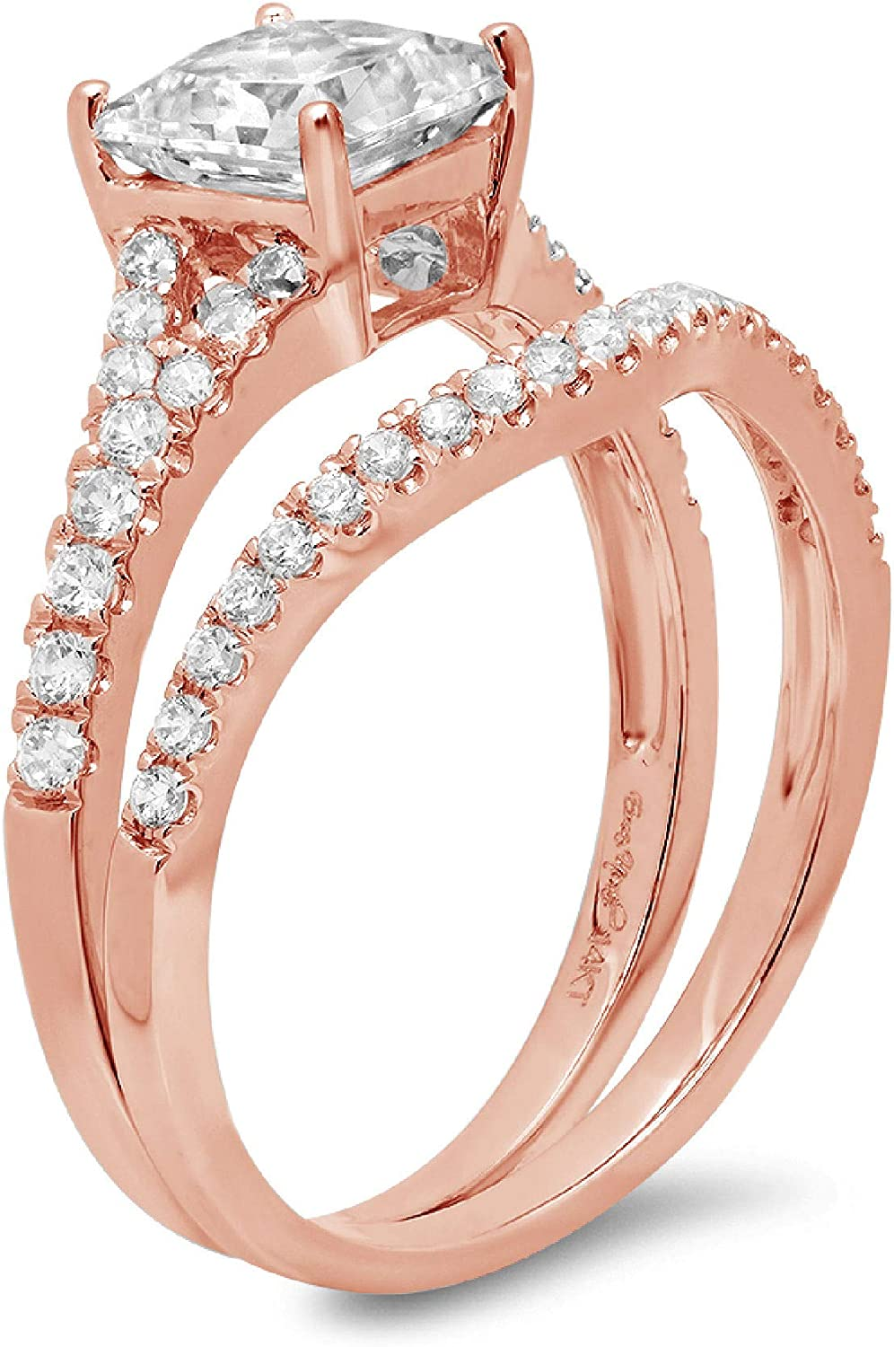 2.01ct Princess Cut Pave Solitaire with Accent Genuine Moissanite & Simulated Diamond Engagement Promise Statement Anniversary Bridal Wedding Ring Band set Curved Solid 14k Rose Gold