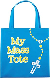 My Mass Tote Blue Nylon Bag With Our Father Prayer, 10 Inch
