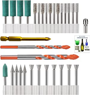 Diamond Glass Drill Bit for dremel, Ceramic Tile Drill Bit, Porcelain Tile Drill Bit, Diamond Hole Saw Set Drill Bits for Dremel Rotary Tool for Glass, Ceramic, Stone, Bottle, Electric Drill