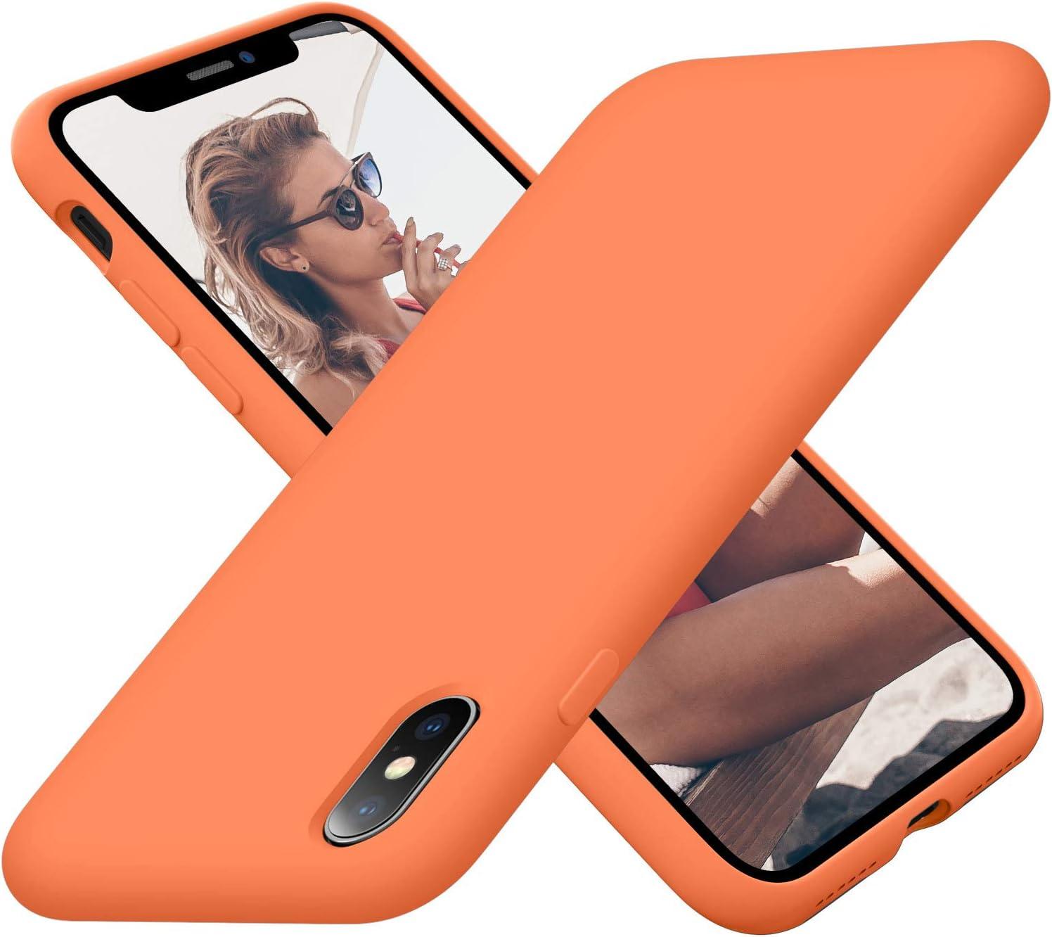 Cordking Phone Case iPhone X, iPhone Xs Case, Silicone Ultra Slim Shockproof Phone Case with [Soft Anti-Scratch Microfiber Lining], 5.8 inch, Kumquat