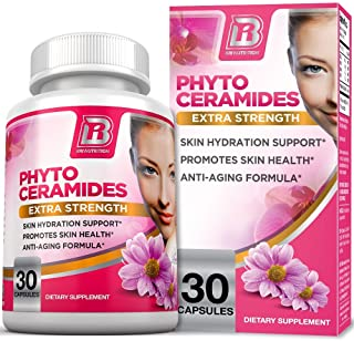 BRI Nutrition Phytoceramides - Natural Anti-Aging Skin & Hair Vitamins for Collagen Boost & Rejuvenation w Vitamins A + C + D + E - 350mg per Serving (1 Vegetable Cellulose Capsule) - 30 Count
