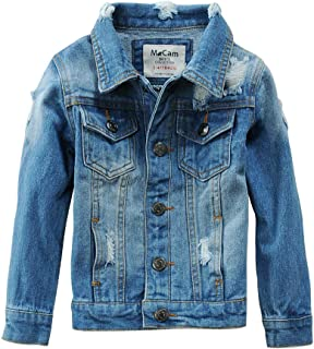 Boys Kids Denim Fall Ripped Jean Jacket Coat Outwear with Hole 100% Cotton