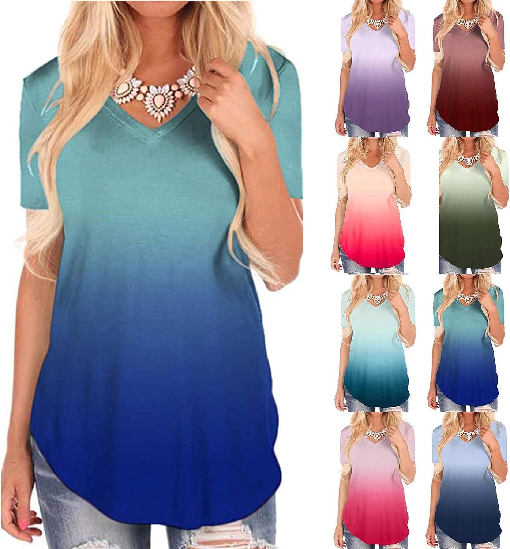 INESVER Women's V-Neck Gradient T-Shirt Summer Comfy Tunic Tops Casual Printing Blouse Shirt Long Tee