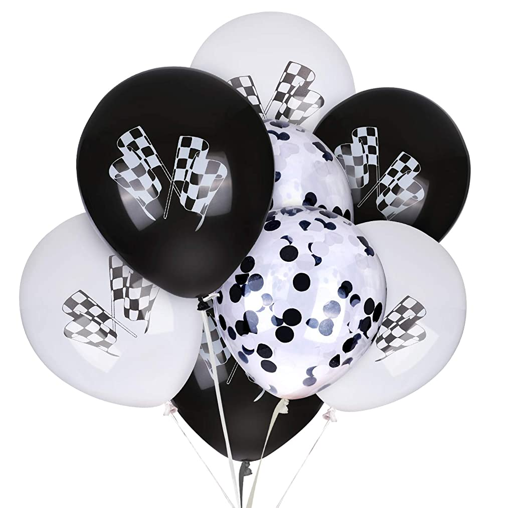 Race Car Latex Balloons and Confetti Balloon 12 Inches Checkered Racing Cars Flag Theme Black & White Balloon Birthday Party Race Car Party Supplies Decorations Motorcross 30 Pack