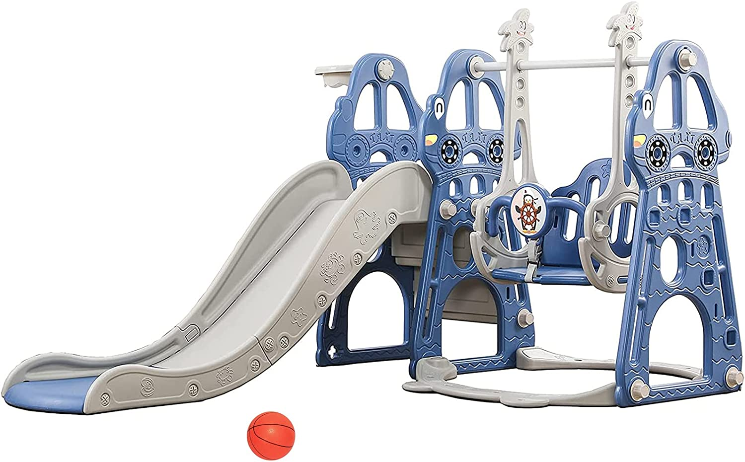 4 in 1 Toddlers Slide, Kids Play Climber Slide Playset with Bask