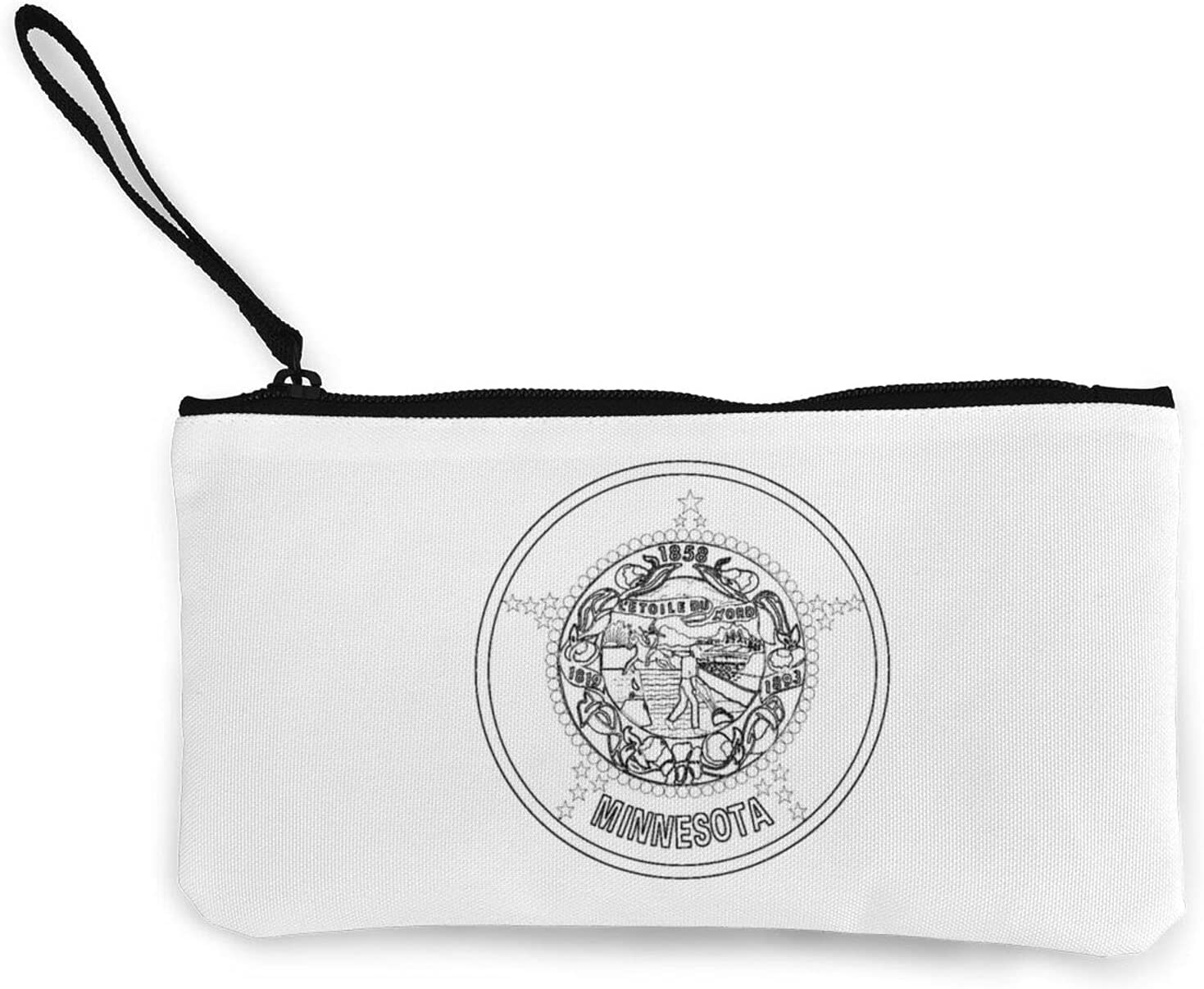 Flag Of Minnesota Multifunction Travel Toiletry Pouch Small Canvas Coin Wallet Bag Zipper