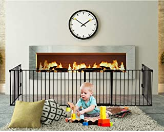 PETSJOY 6 Panels Baby Safety Gate, 5-in-1 Fireplace Fence, Wide Barrier Gate with Walk-Through Door in Two Directions, Add/Decrease Panels Directly, Wall-Mount Metal Gate for Pet & Child, Super Wide