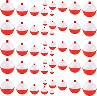 Coopay 30pcs-50pcs/lot Hard ABS Fishing Bobbers Set Snap on Red/White Float Bobbers Push Button Round Buoy Floats Fishing Tackle Accessories