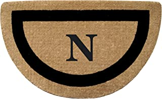 """Heavy Duty 22"""" x 36"""" Coco Mat, Black Single Picture Frame Monogrammed N, Half Round"""