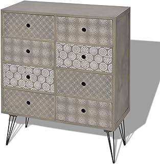 Festnight Aparador de Salón Cómoda con 8 Cajones Materia de MDF + Metal Mueble Auxiliar Color Gris 685 x 30 x 80 cm