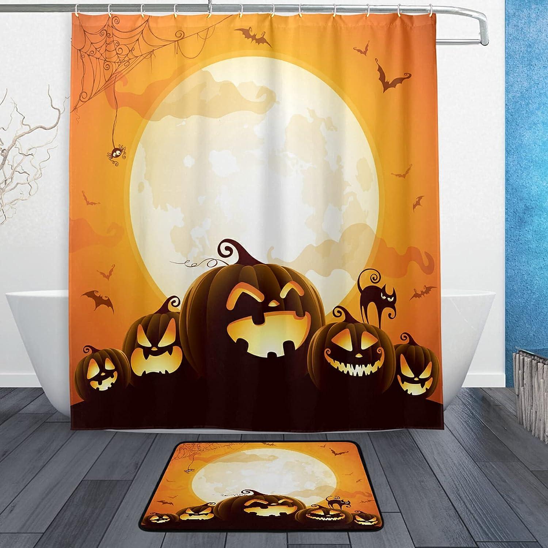 xigua Max 78% OFF Halloween Pumpkins Bath Mat Shower Popular Curtain for Bathroo Set