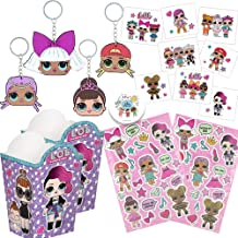 LOL Surprise Party Favor Pack for 12 with 12 LOL Keychains, 12 Sitcker Sheets, 16 Popcorn Container Goodie Boxes, 16 Tattoos, and Exclusive Pin by Another Dream